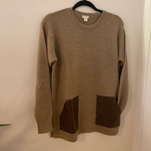 Jcrew sweater with leather detail
